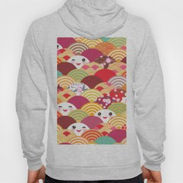 Kawaii Nature background with japanese sakura flower, wave pattern Hoody