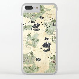 Hand Drawn Pirate Map Clear iPhone Case