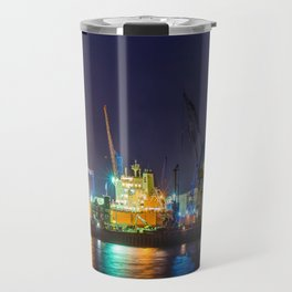 Port of Hamburg at night with colorful illumination Travel Mug