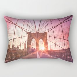 New York City Brooklyn Bridge Sunset Rectangular Pillow