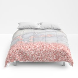 Sparkly Pink Rose Gold Glitter Ombre Bohemian Marble Comforters