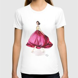 Red Fashion Watercolor Model T-shirt