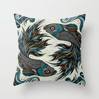 fight Throw Pillows featuring Fight by Andreas Preis
