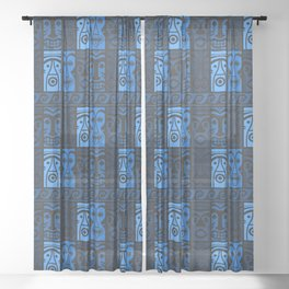 Blue Tikis! Sheer Curtain