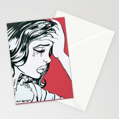 Crying Red Vintage Comic Book Painting  Stationery Cards