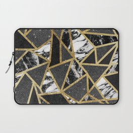 Modern Faux Gold Glitter Marble Geometric Triangle Laptop Sleeve
