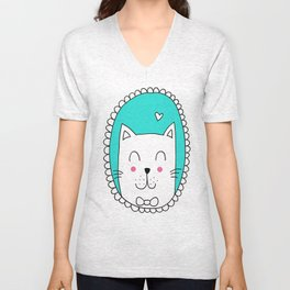 Kitty Cat Carla (Turquoise) Unisex V-Neck