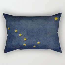 Alaskan State Flag, Distressed worn style Rectangular Pillow