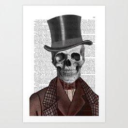 Skeleton Gentleman And Top Hat Canvas Print Art Print