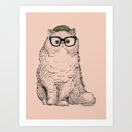 Hipster Persian Cat Art Print