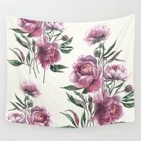 peony Wall Tapestries featuring peony by Dao Linh