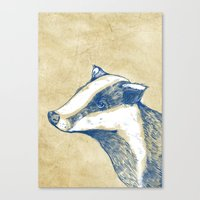 badger Canvas Prints featuring Badger by Emily Stalley
