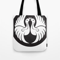 religious Tote Bags featuring Black And White Birds-Religious Symbol by ArtOnWear