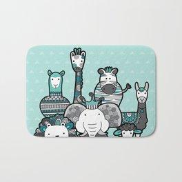 Doodle Animal Friends Aqua & Grey Bath Mat