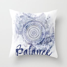 Blue Watercolor Mandala Painting with Word Balance Throw Pillow