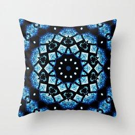 Blue Black Mosaic Kaleidoscope Mandala Throw Pillow