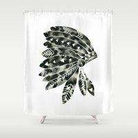 headdress Shower Curtains featuring Geometric Headdress by GeometricInk