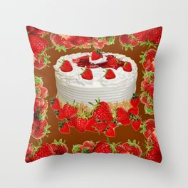CHOCOLATE STRAWBERRIES PARTY CAKE Throw Pillow