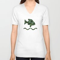 bisexual V-neck T-shirts featuring Aqua and green sparkling scales by Better HOME