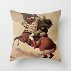 The Hero Crossing Death Mountain Throw Pillow
