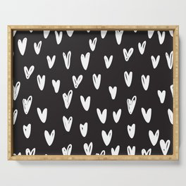 Heart hand drawn seamless pattern Serving Tray