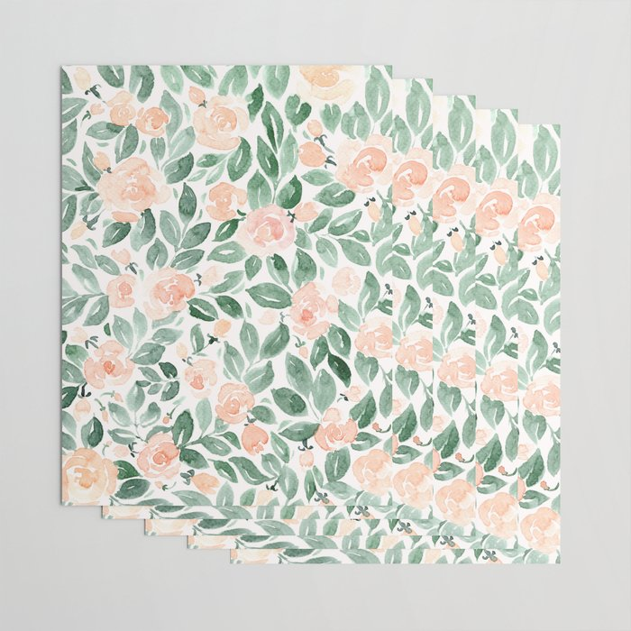 """Loose watercolor florals, """"Miriam"""" Wrapping Paper"""