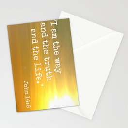 John 14:6 Quote & Beach Sunset Photograph Stationery Cards