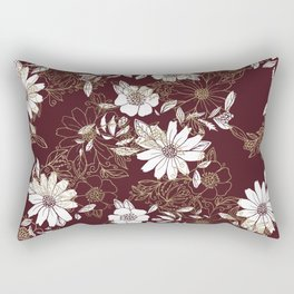 Elegant burgundy white faux gold modern flowers Rectangular Pillow