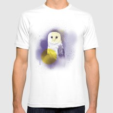 The Calm Owl White Mens Fitted Tee MEDIUM