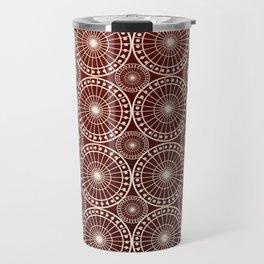 Circle Fretwork in red & gold Travel Mug