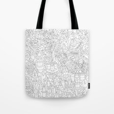 TWO BEAST BOTS TRASHING CANDY TOWN Tote Bag