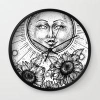 tarot Wall Clocks featuring Sun Tarot by Corinne Elyse