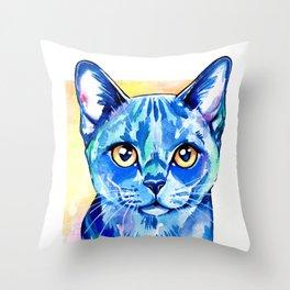 Cat - British Blue Portrait Throw Pillow