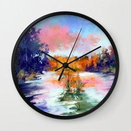 Autumn lake Wall Clock
