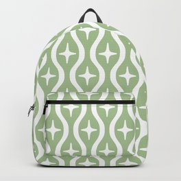 Mid century Modern Bulbous Star Pattern Sage Green Backpack