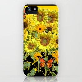 ORANGE MONARCH BUTTERFLIES IN SUNFLOWER FIELD iPhone Case