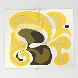 Yellow and Black Abstract Throw Blanket