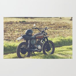 Moto guzzi, café racer, photo in south italy, man cave. Scrambler, fine art, motorcycle, motorbike Rug