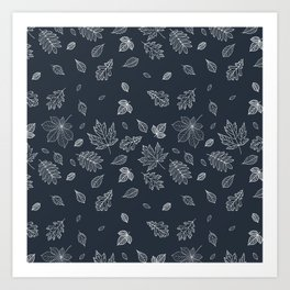 Pastel navy blue white hand painted autumn leaves Art Print