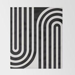 Minimal Line Curvature - Black and White III Throw Blanket