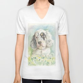 ENGLISH SETTER PUPPY Cute dog portrait on the dandelions meadow Unisex V-Neck