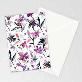 Ink flowers pattern - Viola Stationery Cards