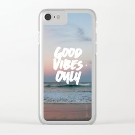 Good Vibes Only Beach and Sunset Clear iPhone Case