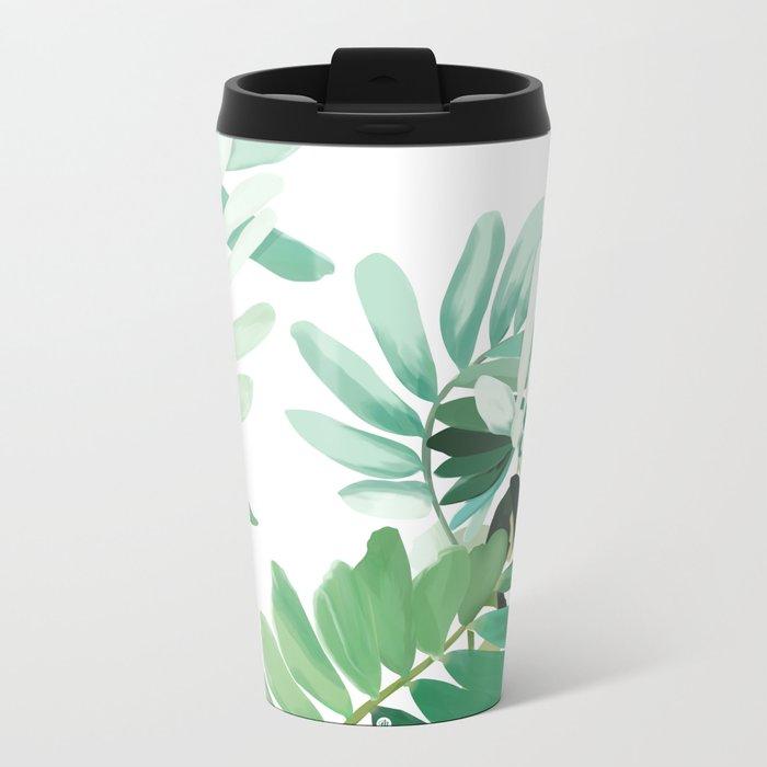 green plant leaves Metal Travel Mug