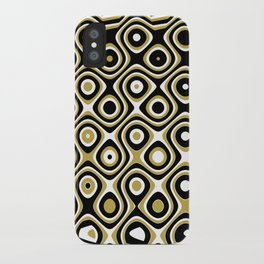 Black gold and white dots and circles iPhone Case