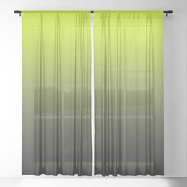 Lime Yellow and Black Ombre  Sheer Curtain