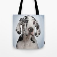 great dane Tote Bags featuring Great dane by Life on White Creative