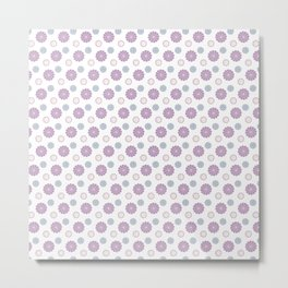 Joyful Pink Purple and Blue Floral Pattern Metal Print