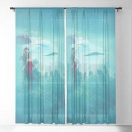 Clouds rain Sheer Curtain