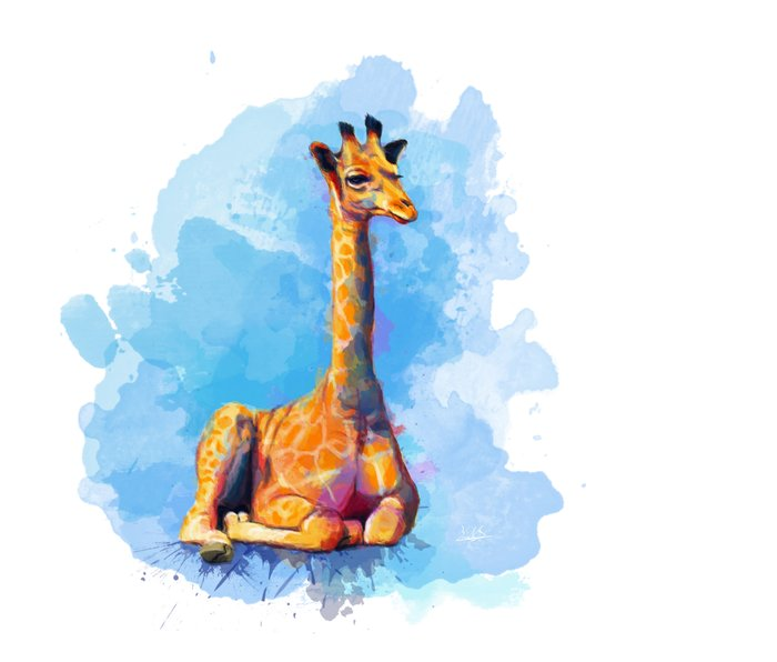 Baby Giraffe Metal Travel Mug